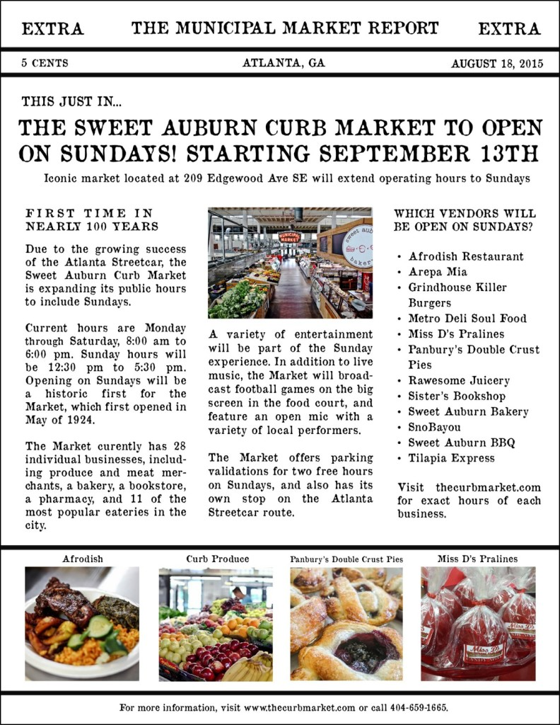Sweet Auburn Curb Market - Sunday Hours with border