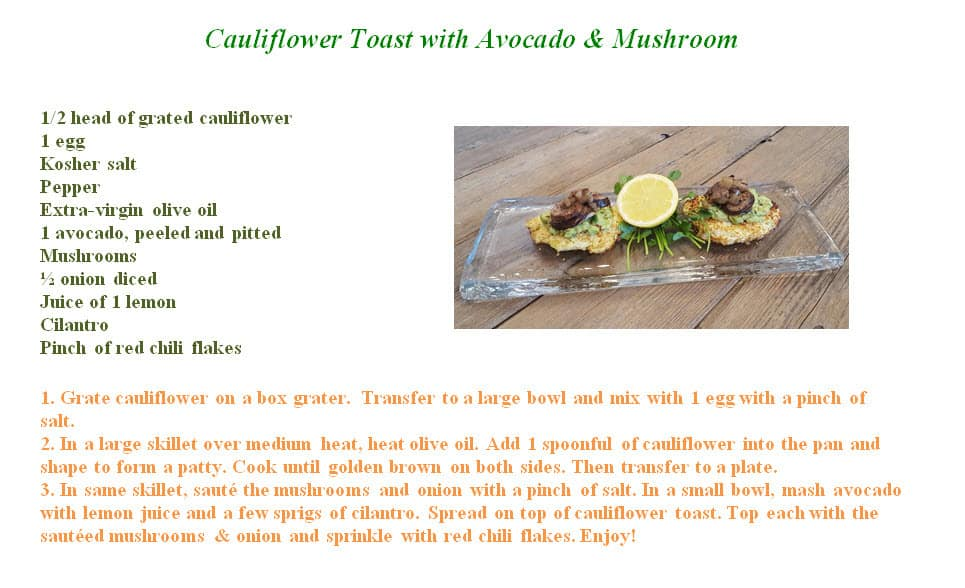 Cauliflower Toast with Avocado_mushroon